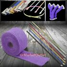 "15FT/180 2""W Purple Header/Downpipe Heat Wrap+5x12"" Stainless 5mm Zip Tie Cable"