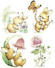 Bunny Rabbit Flower Butterfly Select-A-Size Waterslide Ceramic Decals Bx image