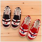 BN Children's Cute Casual Sailor Canvas Sneaker Walking Slip-On Shoes Red Blue