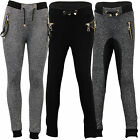 Girls Bottoms Kids Pants Children PU Leather Look Quilted Leggings Drawcord Zip