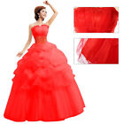 Fashion Red And White Wedding Dress Bridal Gown All Size 4 6 8 10 12