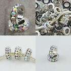 Rhinestone AB Clear Crystal Wheel Rondelle Charm European Big Hole Beads Finding