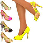 Ladies Womens Floral Colourful Patent PVC Mid High Heels Peep Toe Shoes Size 3-8