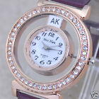 New Hollow Out Roman Numerals Dial Leather Band Women Quartz Wristwatches Gift