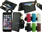 """Leather Sleeve Case with Card Slot Neck Strap for Apple iPhone 6 Plus 5.5"""""""