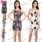 Womens Ladies Floral Print High Square Neck Strappy Cami Fit Bodycon Midi Dress