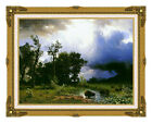 Framed Art Buffalo Trail The Impending Storm Albert Bierstadt Repro Canvas Print