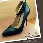 """New Coach Harbor Pumps Ankle Strap 4"""" Heels Black Navy Leather Sizes 8 - 10 US"""