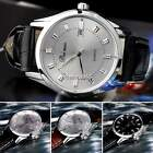 Chic Men Casual Steel Analog Quartz Alarm Auto Date Display Leather Wrist Watch