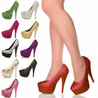 WOMENS LADIES HIGH HEEL PLATFORM PARTY EVENING PROM COURT SHOES PUMPS SIZE