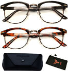 Clubmaster Style Readers Retro Geek Nerd Clear Reading Glasses Black Tortoise