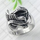 1pc Sz 9/10/11/12 Motor Biker Hawk Eagle Stainless Steel Men's Ring Live to Ride