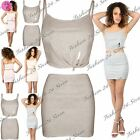 Womens Ladies Ribbed Mini Skirts 2 Piece Front Knot Cami Cropped Top Co Ord Set