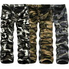 Mens Military Army Combat Camo Printed Pants Fashion Zip Cargo Casual Trousers