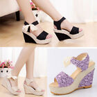 New Women Girls Sweet Wedge Sandals Retro High Heel Shoes Platform PUMP Open Toe