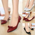 Fashion Sexy Pointy Toe Bowknot Kitten Low Heels Pumps Office Lady Work Shoes