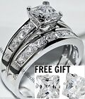 Kyпить Sterling Silver 14k White Gold Princess Diamond cut Engagement Ring Wedding Set  на еВаy.соm