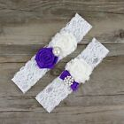 2pc/Set Rolled Rosette Shabby Chiffon Flowers Vintage Lace Keepsake Toss Garters