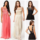 BOHO Women Hollowed Lace Splicing Backless Chiffon Dress Prom Summer Party Gowns