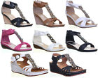 Womens Low Wedge Sandals Side Buckle Open Toe Ladies Shoes