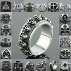 Men's Stainless Steel Masonic Eagle Skull Head Lucky Numbers Finger Ring Jewelry