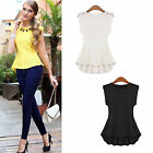 Chic Sleeveless Lace Peplum Frill Casual Party Tank Top Shirt Blouse Dress Lady