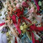 Satin Ribbon Bow And Rose Clusters - Choose Colour & Pack Size Free Postage