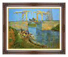 Langlois Bridge at Arles with Women Washing by Vincent van Gogh Framed Art Repro