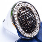 MEN'S HIGH FASHION Black & White Russian CZ .925 Sterling Silver Ring Sizes 8-12