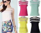 New Fashion Women Summer Sexy Candy Color Sleeveless Striped Tops Blouses Vest
