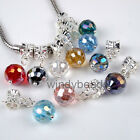 Mixed Lot Motley Faceted Ball Crystal Dangle European Beads Fit Charm Bracelets