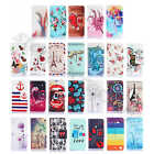 For Huawei Phones Embossed Rugged PU Leather Card Holder Stand Wallet Case Cover