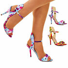 Ladies Barely There High Heel Sandals Floral Colorful Open Toe Strappy Shoe Size