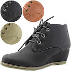 Women Comfy Ankle Boots Wedge High Heel Sneaker Lace Up Stitch Detail Sexy Shoes