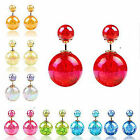 CHIC New Fashion Jewelry Double Sided Big Pearl-Shaped Stud Earings Beads Lots