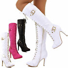 Womens Lace Up High Heel Knee High Boots Gold Buckle Padded Stiletto Shoes Size