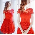 New Fashion Women Floral Lace Short Sleeve Evening Party Casual Dress T56S