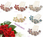 1pcs Fashion Gold Plated Style Full Crystal Flower Hair Comb