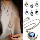 Women Galaxy Glass Cabochon Silver Pendant Hollow Chain Crescent Moon Necklace