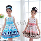 2015 Lovely Girls' Princess Party Bow Belt Bubble Peacock Dress Clothes 1-6Y