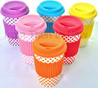 Spotty Polka Dot Thermal Insulated Ceramic Eco Cup Travel Mug Silicon Lid & Grip