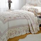 Lilac Lille Floral Quilted Bedspread Set with Pillowshams Single Double King