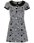 NEW RETRO SIXTIES PETER PAN COLLAR 60s 70s MINI MOD DRESS Vintage OP ART MC202