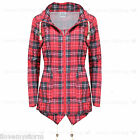 Ladies  Red Tartan Plus Sizes Detachable Hoodie Mac Waterproof Rain Coat
