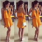 Summer Women Sexy Chiffon Two Pieces Set Dress Straps Tank Tops Beach Skirt - CB