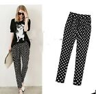 New Ladies Polka Dot Elastic Waist Highly Elastic Pants Trousers AU Size 14-18