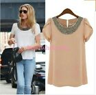 2015 Fashion Womens Ladies Chiffon Short Sleeve T Shirt Casual Tops Beads Blouse