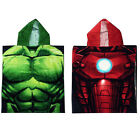 MARVEL AVENGERS KIDS BATH PONCHO HOODED TOWEL OFFICIAL IRON MAN HULK
