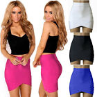 Fashion Vintage Women's Stretch High Waist Short Bodycon Plain Skater Mini Skirt