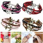 Infinity Sailor Nautical Knot Anchor Helm Wheel Suede Leather Bracelet Fashion